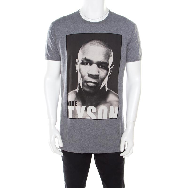 Dolce and Gabbana Grey Melange Mike Tyson Print Crew Neck T-shirt L