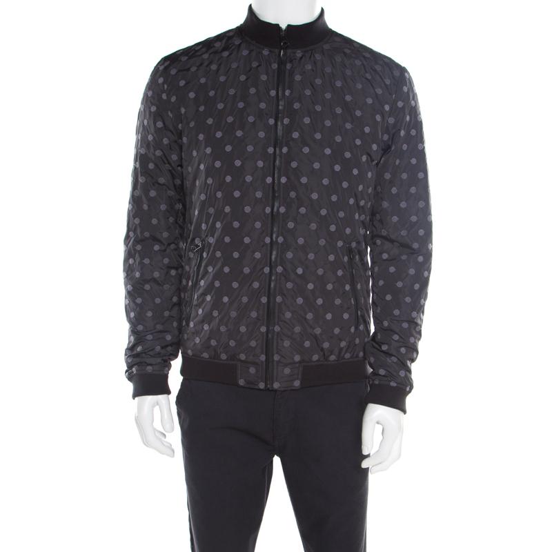 2fc67ccf2 Dolce & Gabbana Black Polka Dot Embroidered Zip Front Bomber Jacket L