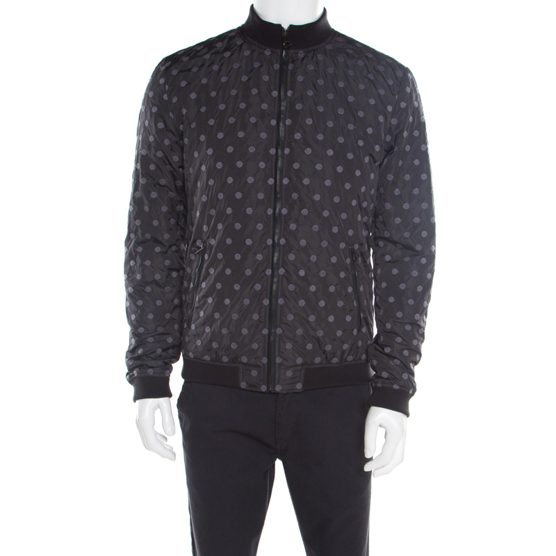 e172892fc9 Dolce & Gabbana Black Polka Dot Embroidered Zip Front Bomber Jacket L