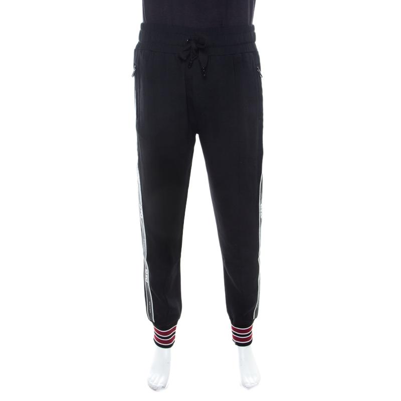 Dolce and Gabbana Black Stretch Crepe Elasticized Waist Cady Track Pants M