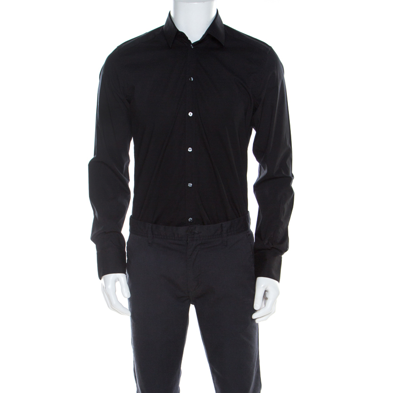 Dolce and Gabbana Black Stretch Cotton Classic Button Front Shirt L