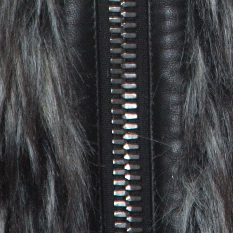 DOLCE /& GABBANA Jacket Wolf Head Hooded Zipper Coat Faux Fur EU48 US38 M