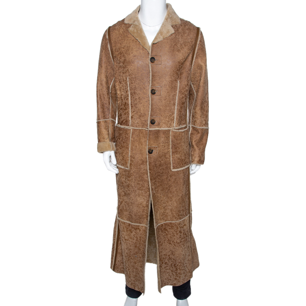 Dolce & Gabbana Beige Leather Fur Lined Long Coat S