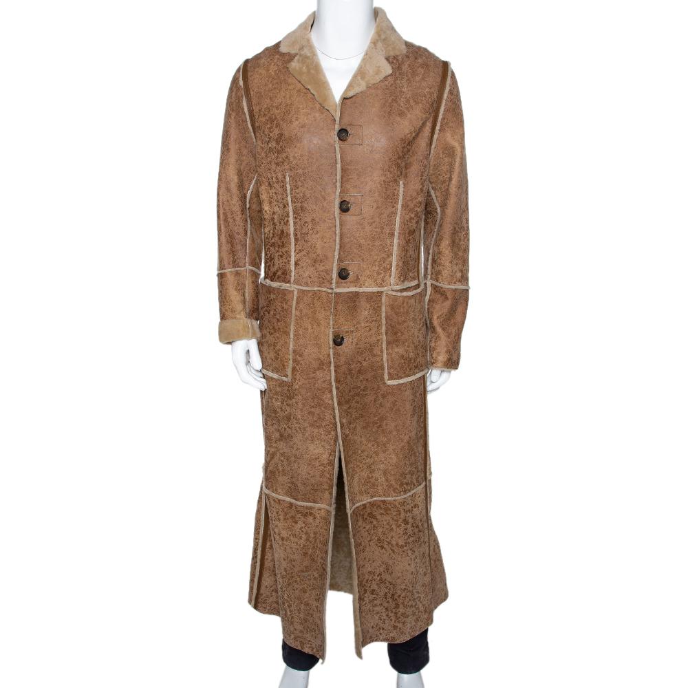 Dolce & Gabbana Beige Leather Fur Lined Long Coat S