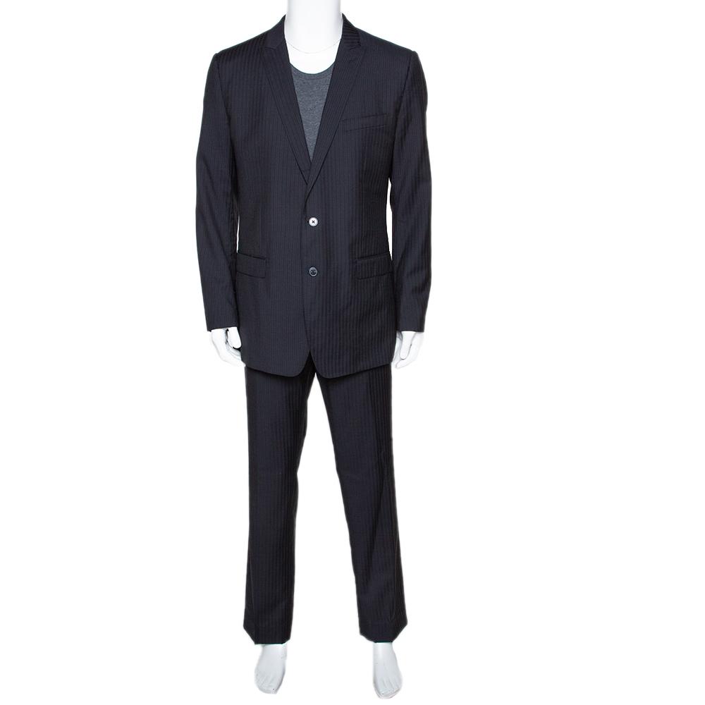 Dolce & Gabbana Black Striped Wool Tailored Suit XXL