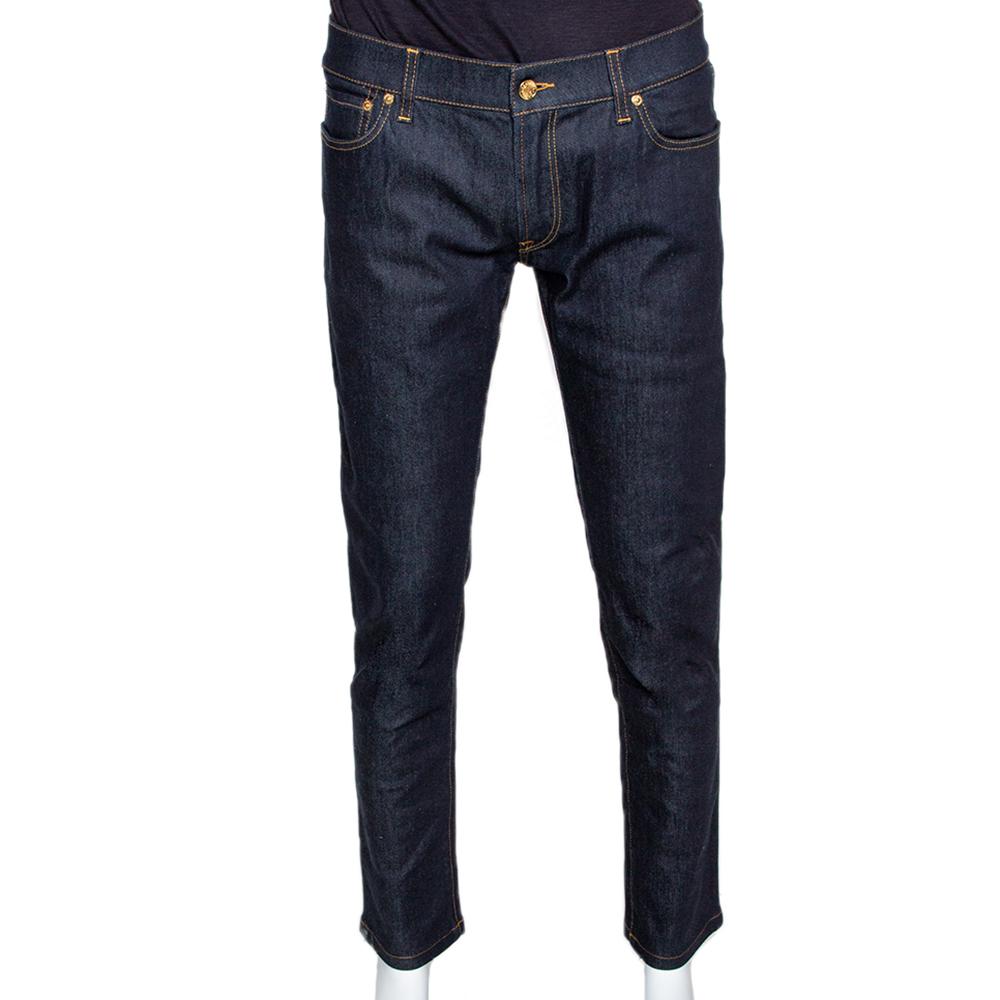 Dolce & Gabbana Dark Blue Stretch Denim Regular Fit Jeans L