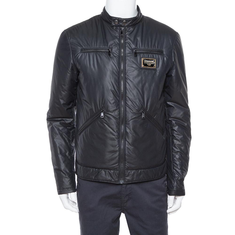Dolce & Gabbana Black Quilted Vest Detail Zip Front Jacket L
