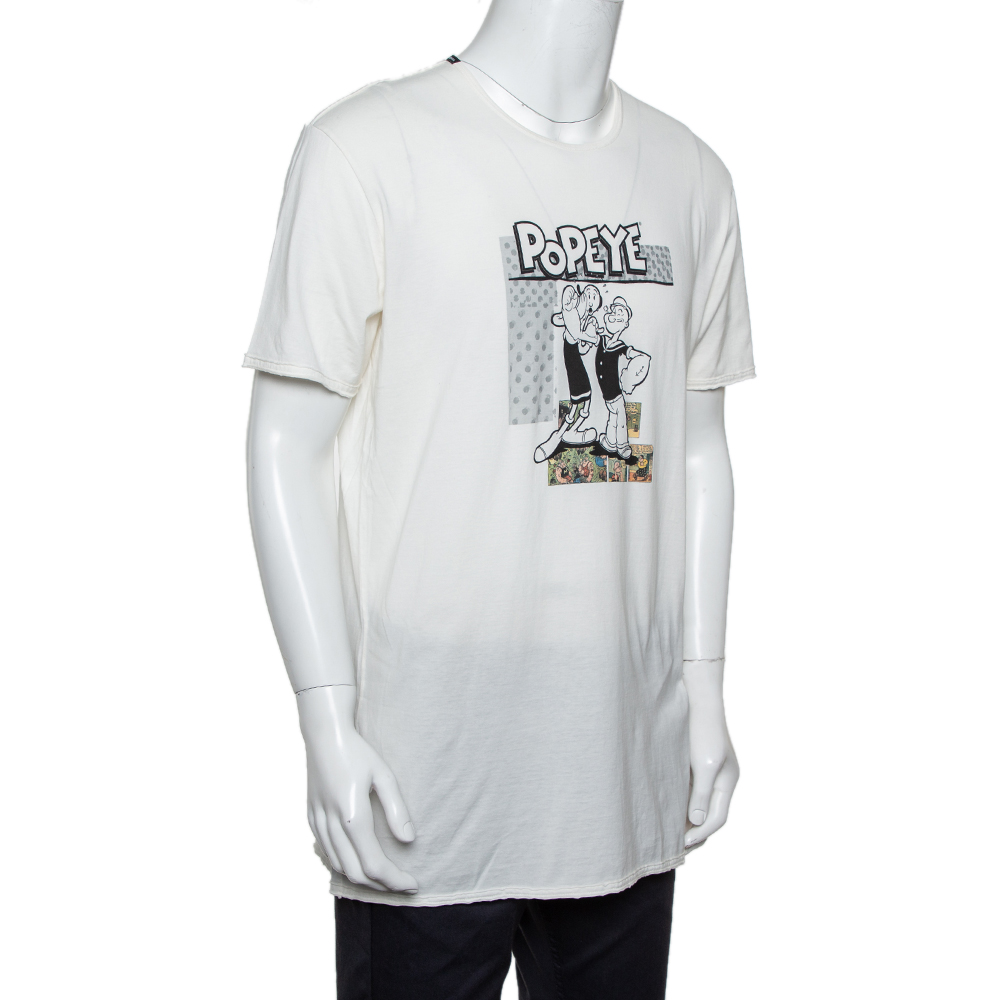 Dolce & Gabbana White Cotton Popeye & Olive Print T-Shirt XXL  - buy with discount