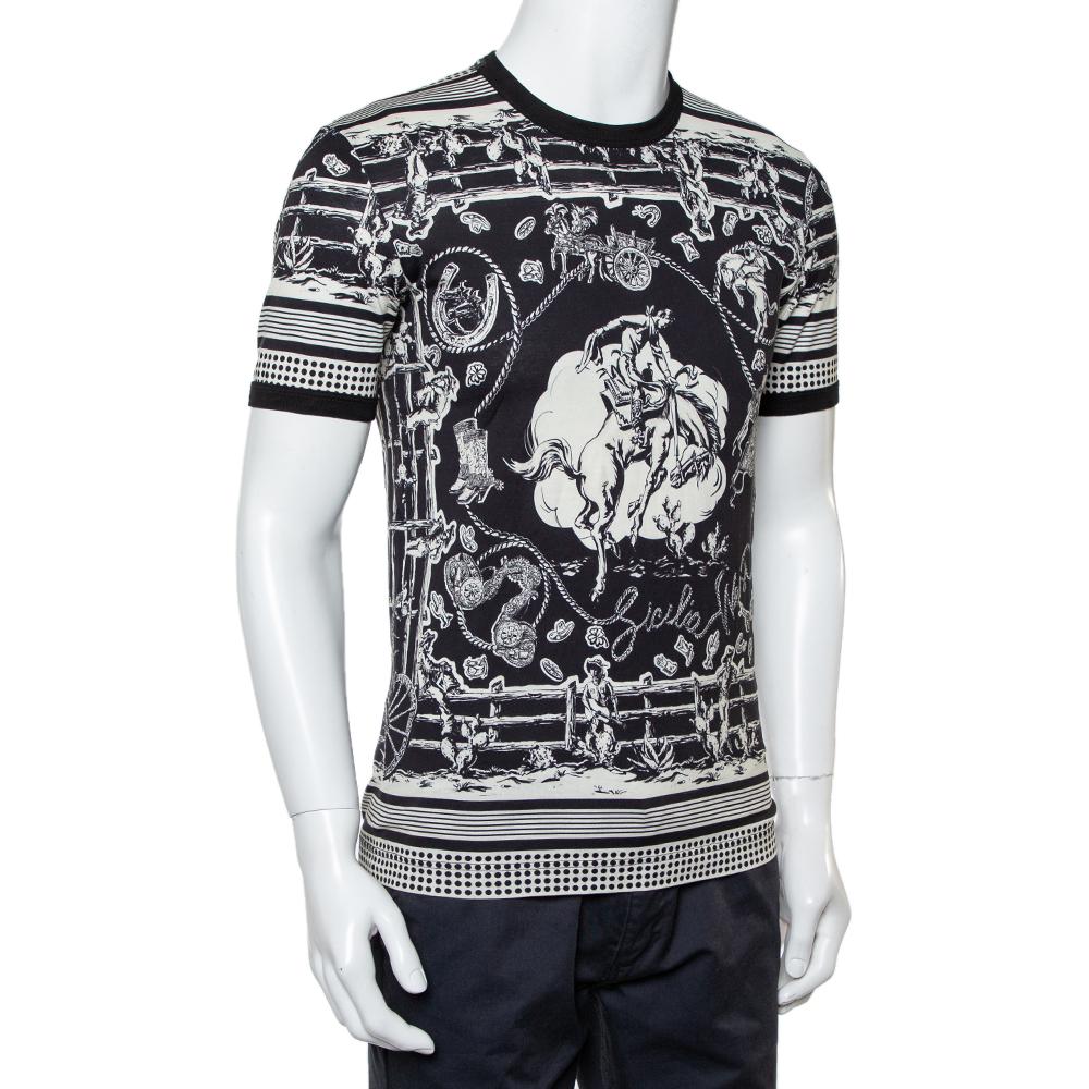 Dolce & Gabbana Monochrome Printed Cotton Crewneck T-Shirt XS, Black  - buy with discount