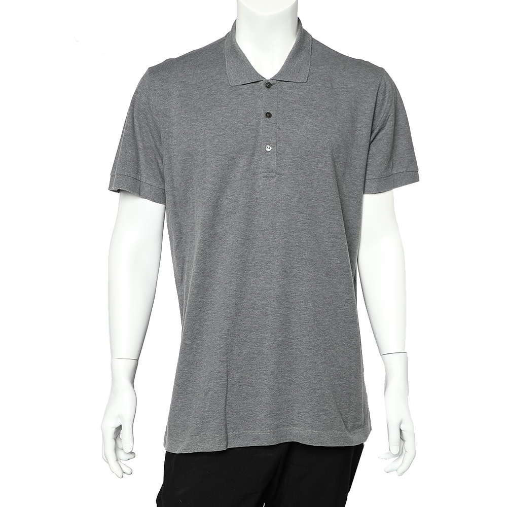 Pre-owned Dolce & Gabbana Grey Cotton Pique Polo T-shirt 3xl