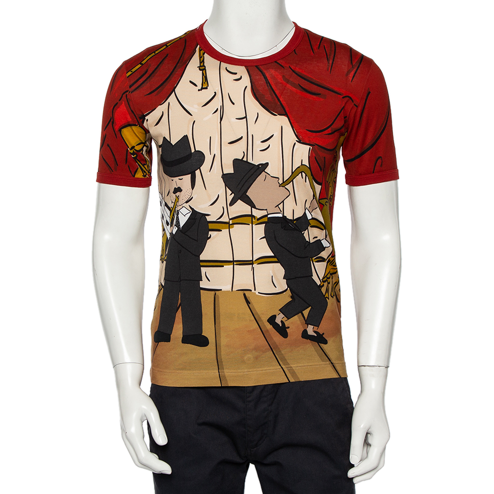 Pre-owned Dolce & Gabbana Red Musical Printed Cotton Crewneck T-shirt S