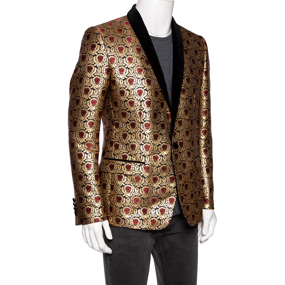 Dolce & Gabbana Metallic Jacquard And Velvet Trimmed Martini Tuxedo L