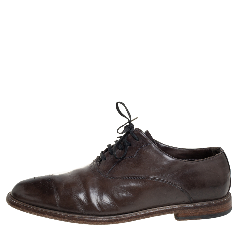 Dolce & Gabbana Dark Green Leather Brogues Lace Up Oxford Size 43.5