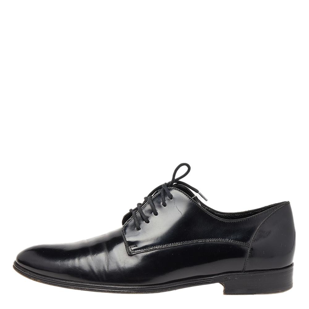 Dolce & Gabbana Black Leather Lace Up Derby Size 39