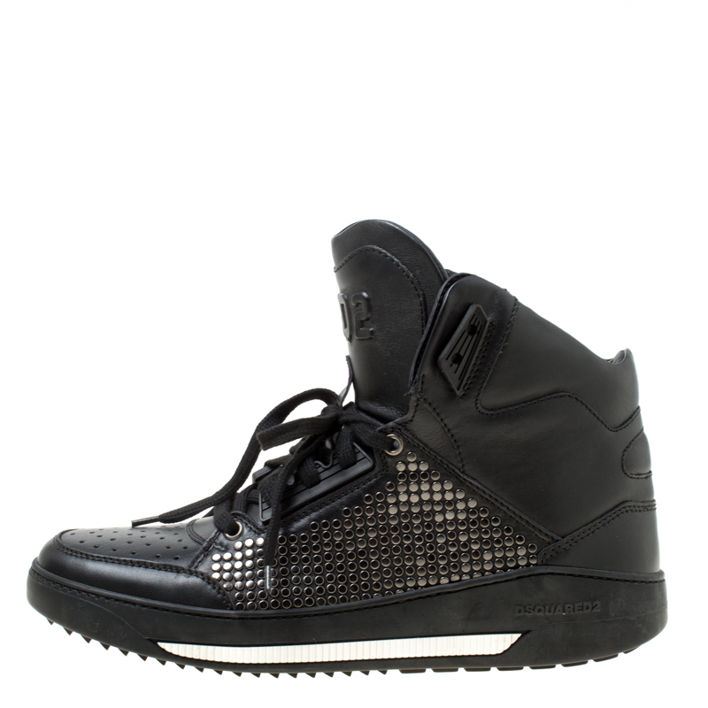 Dsquared2 Black Studded Leather High Top Sneakers Size