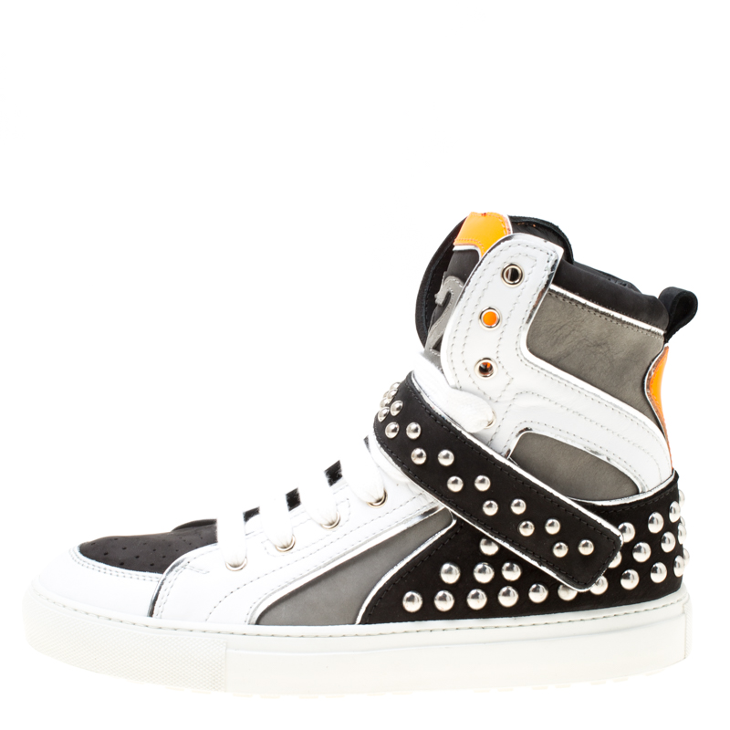 Dsquared2 Tricolor Suede And Leather Studded High Top Sneakers Size, Multicolor