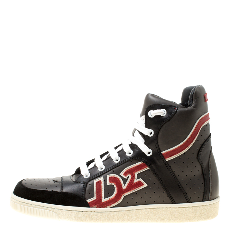 Dsquared2 Grey/Black Leather And Suede High Top Sneakers Size