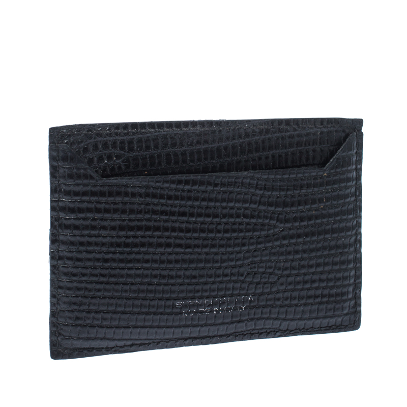 Dsquared2 Black Lizard Embossed Leather Card Holder