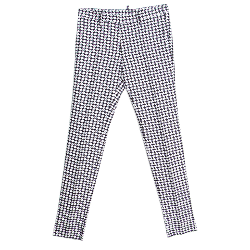 a52fbd1ec020d9 Buy Dsquared2 Monochrome Cotton Silk Houndstooth Patterned Pants S ...