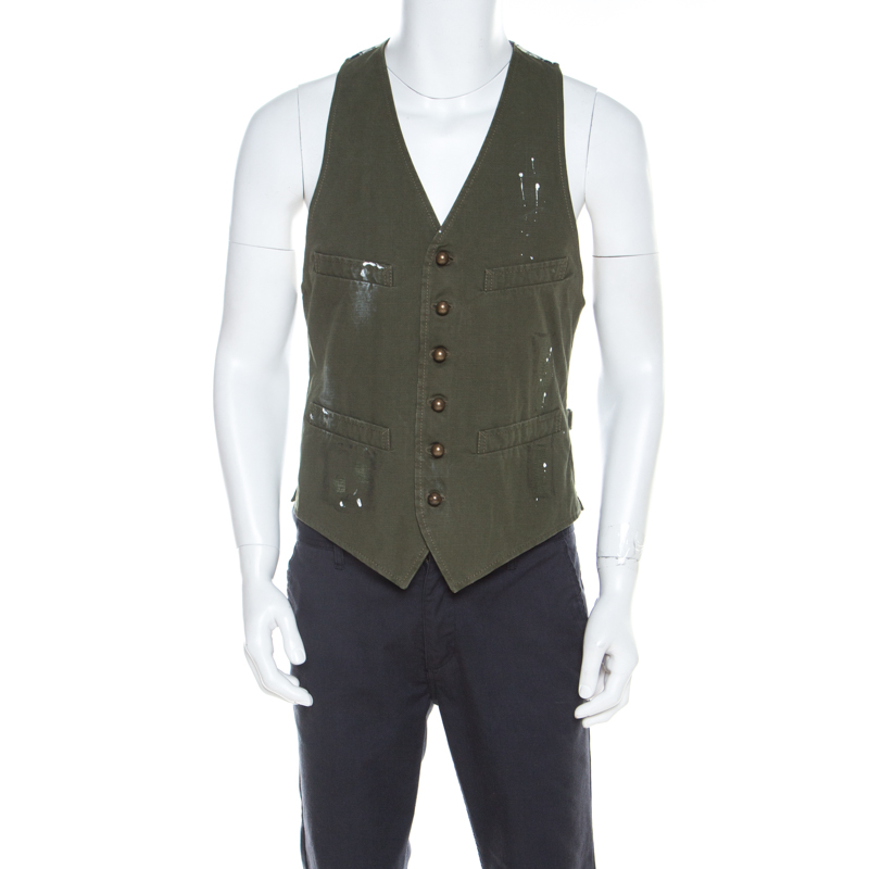Dsquared2 Military Green Cotton and Flannel Gilet Vest L