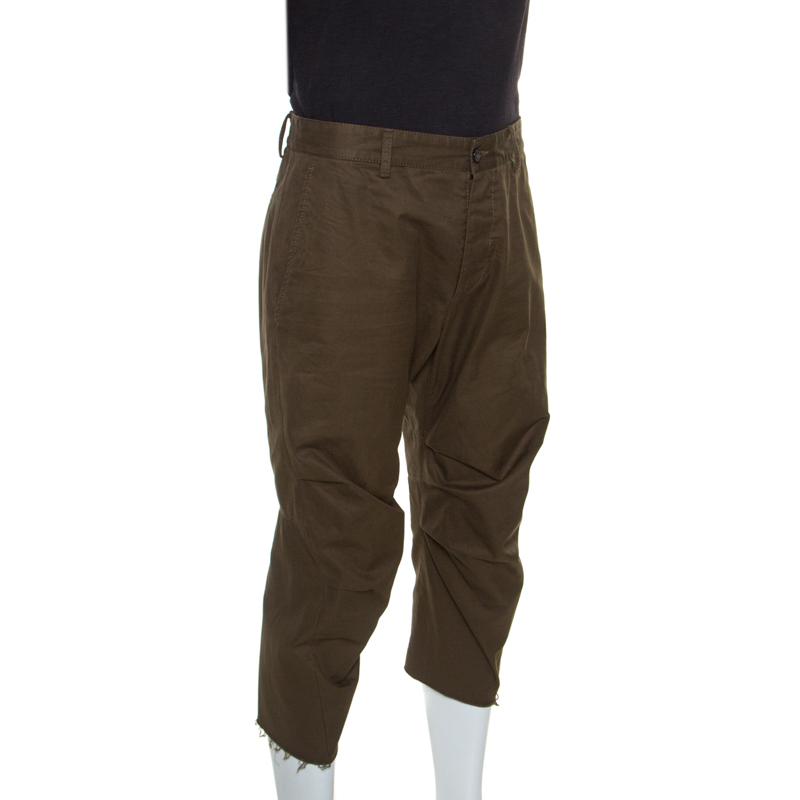 Dsquared2 Kaki Bord Brut Détail Recadrée Pantalons De L