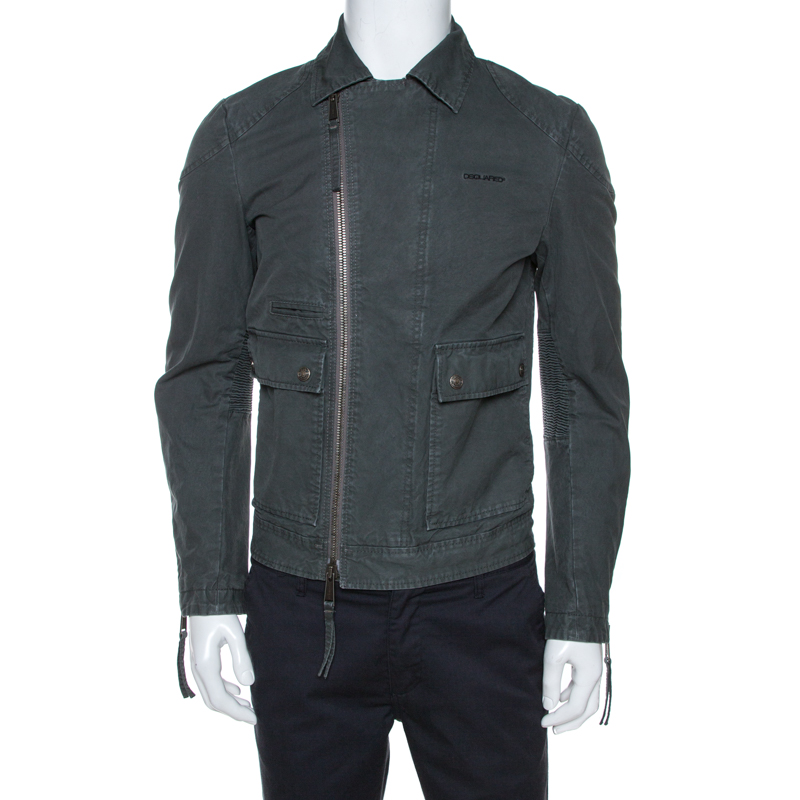 Dsquared2 Grey Cotton Zip Front Biker Jacket S