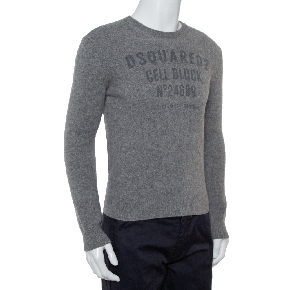 Dsquared2 Grey Wool Cell Block Printed Crewneck Sweater S  - buy with discount