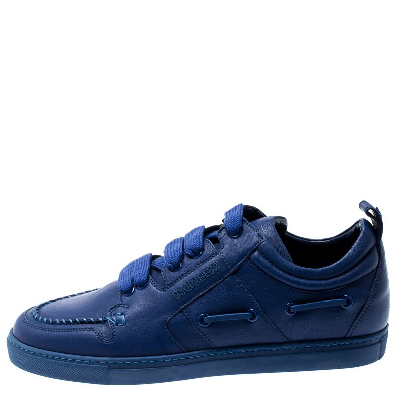 Dsquared2 Blue Leather Whipstitch Detail Sneakers Size
