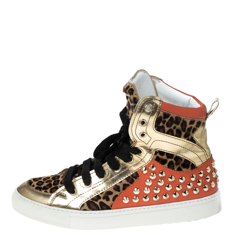 Dsquared2 Multicolor Leopard Print Calfhair and Patent Leather Studded High Top Sneakers Size