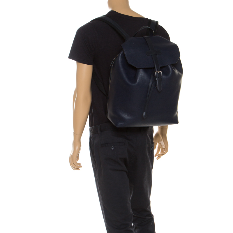 DUNHILL Blue Leather Boston Flap Backpack