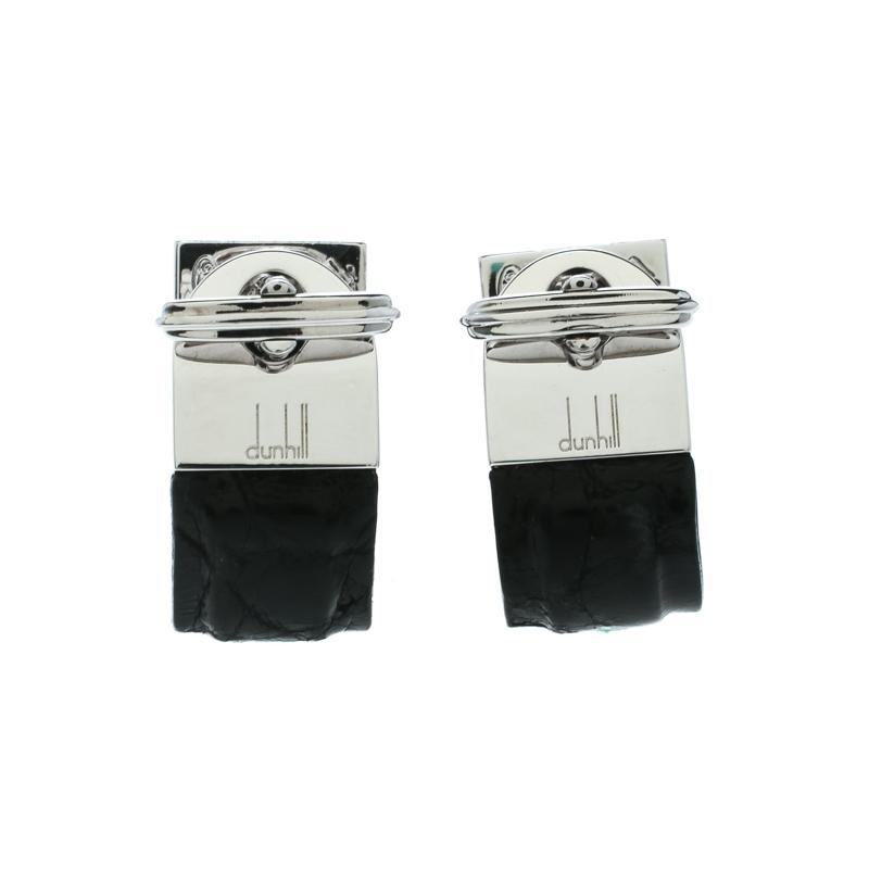 Купить со скидкой Dunhill Black Leather & Silver Wrap Around Cufflinks