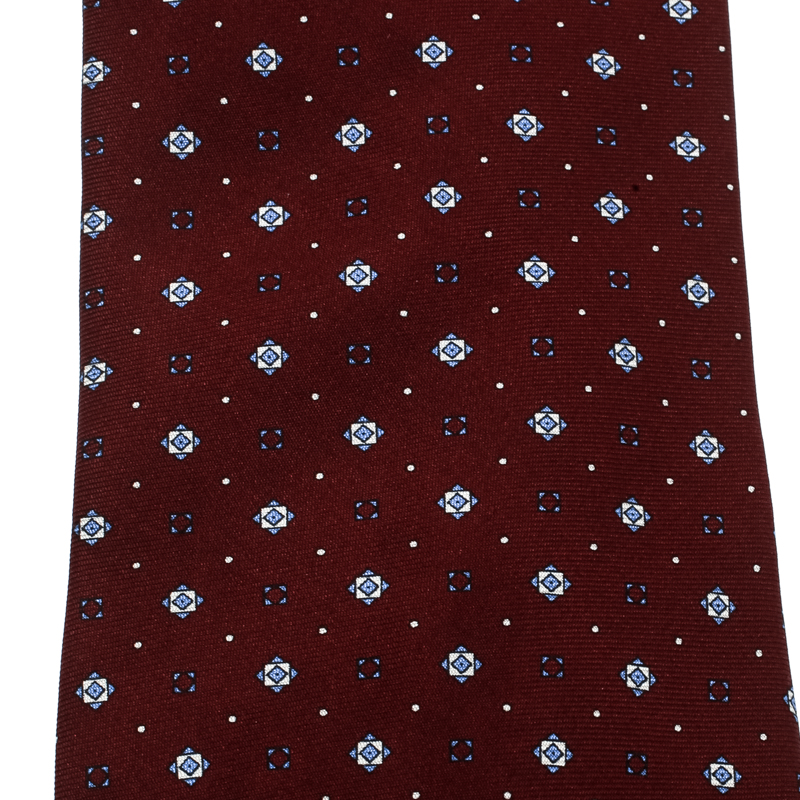 Dunhill Burgundy Geometric Printed Silk Traditional Tie