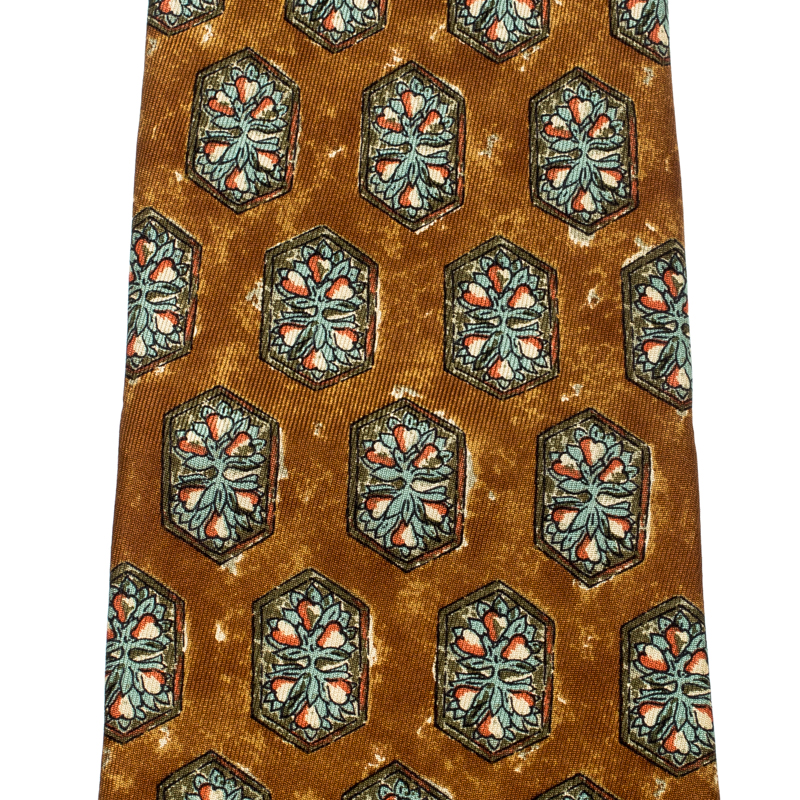 Dunhill Mustard Yellow Hexagon Printed Silk Traditional Tie