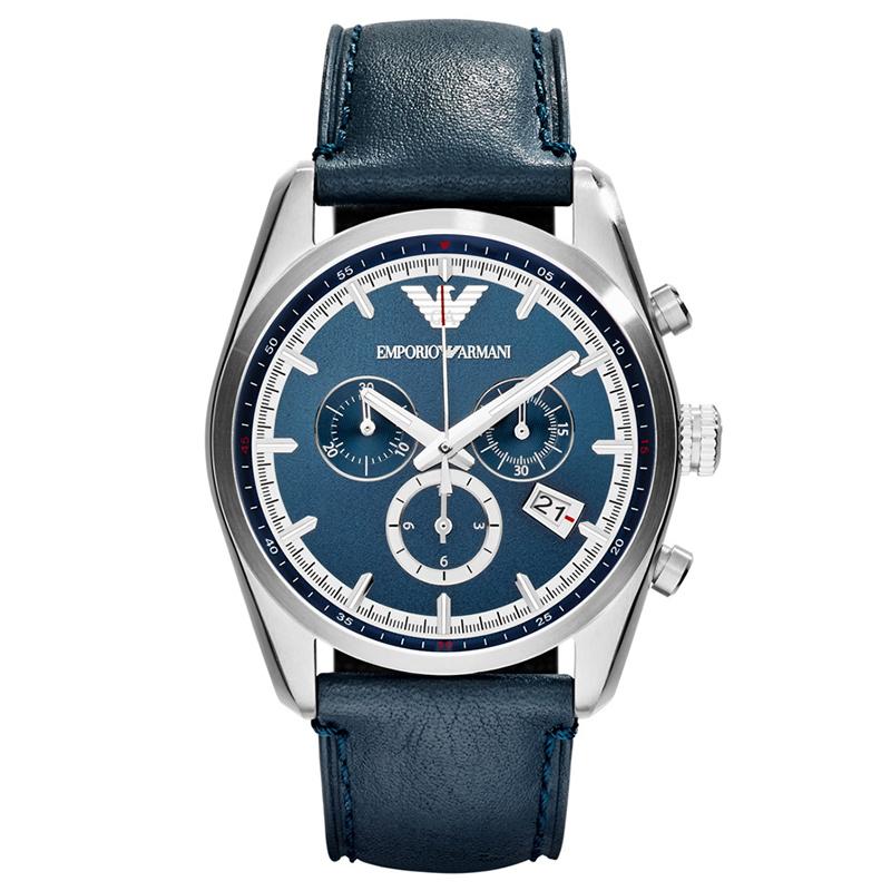 154d3b80b إشتري ساعة يد أمبوريو أرماني AR6041 زرقاء ستانلس ستيل للرجال 42مم ...