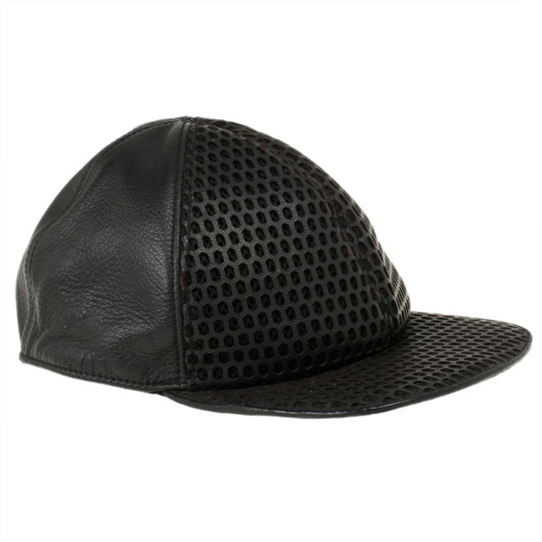 Buy Emporio Armani Black Leather Cutout Baseball Cap Size M 11645 at ... ac2fb411b49