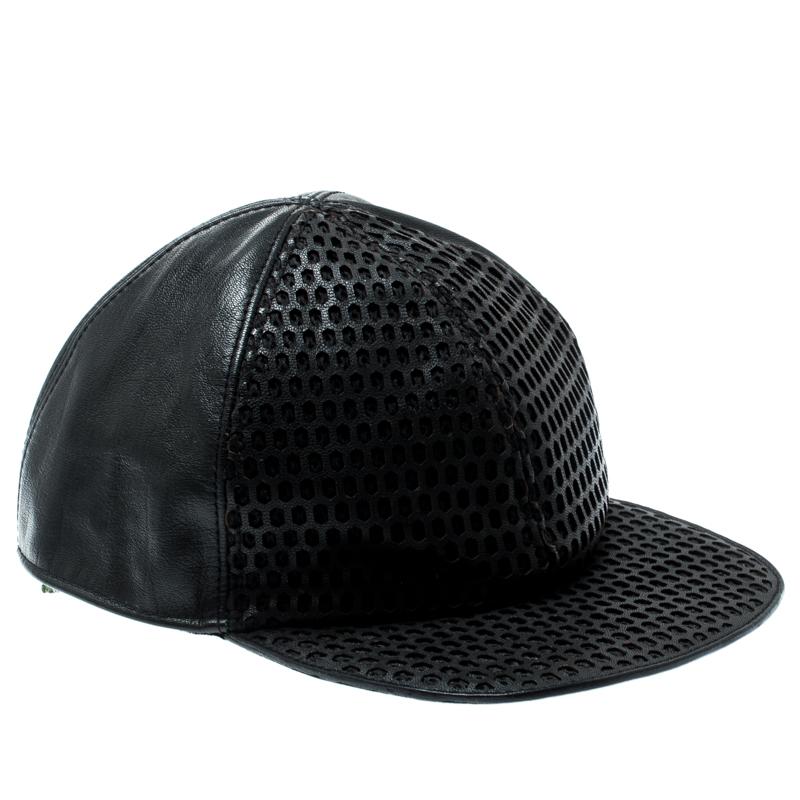 b3f4f880 Buy Emporio Armani Black Perforated Leather Baseball Cap M 187372 at ...