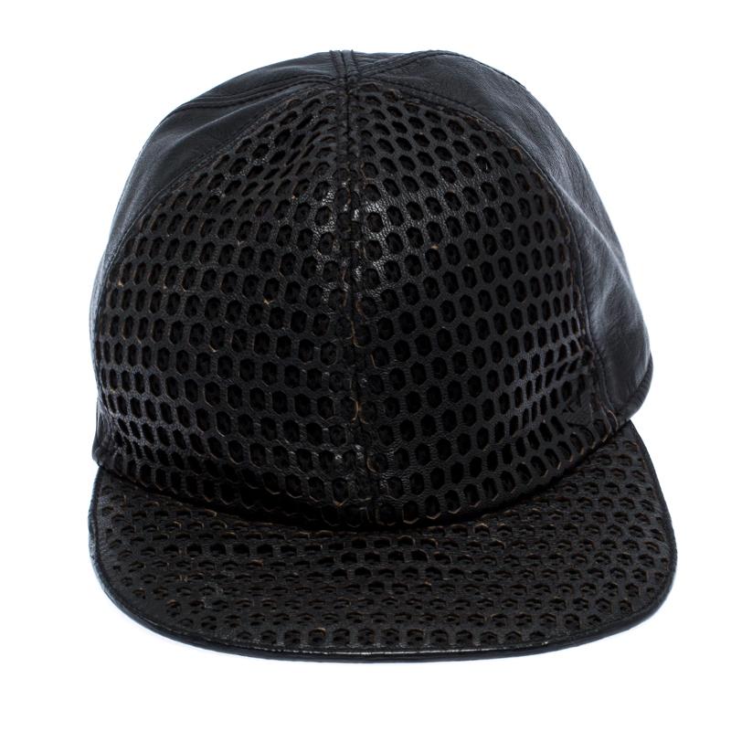 Emporio Armani En Cuir Noir Découpe Casquette De Baseball Taille S