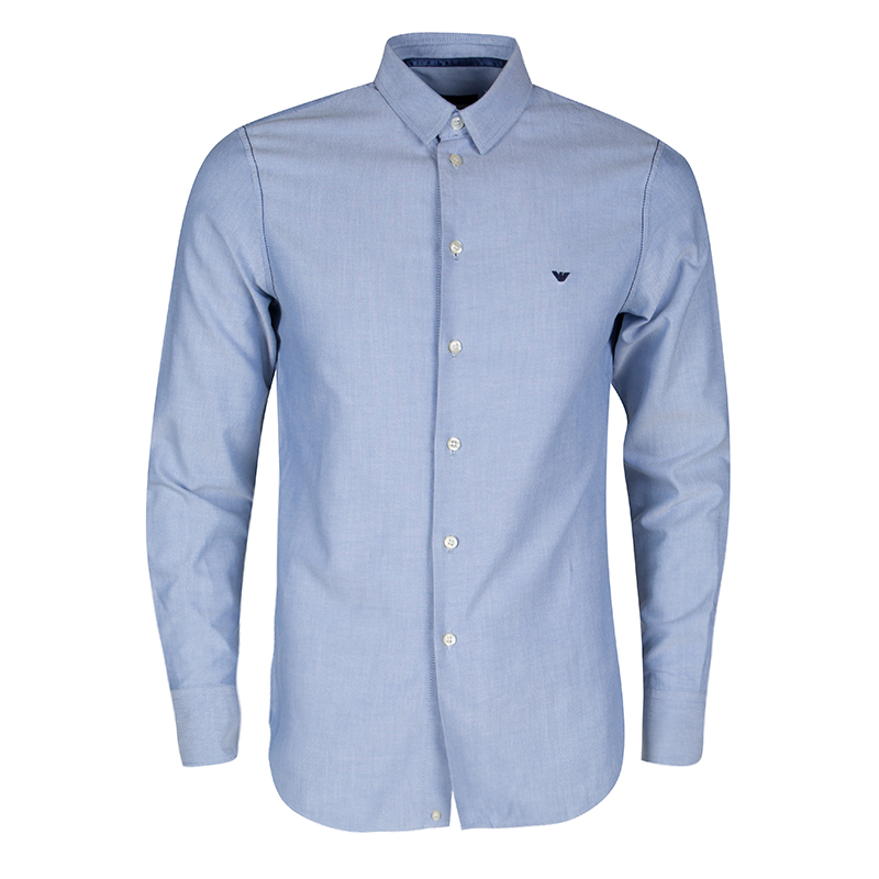 new products latest trends select for official Emporio Armani Blue Contrast Stitch Detail Long Sleeve Button Front Shirt M