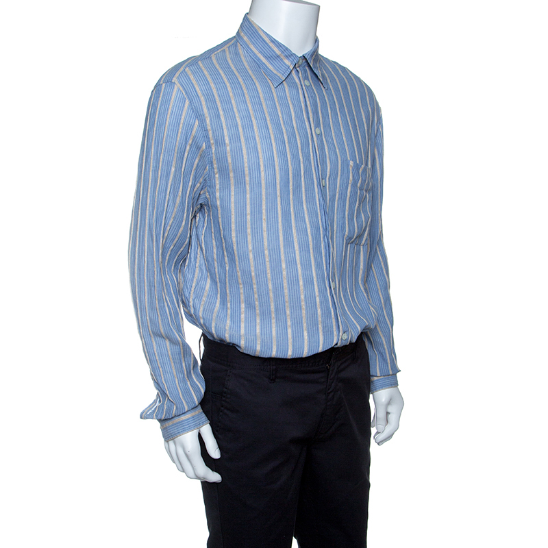 Emporio Armani Blue and Beige Striped Cotton and Hemp Long Sleeve Shirt L
