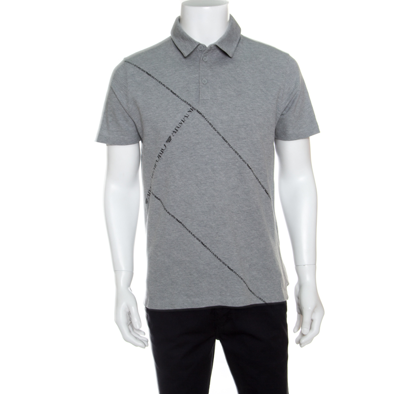 a550961986 Emporio Armani Grey Honeycomb Knit Logo Printed Polo T-Shirt L