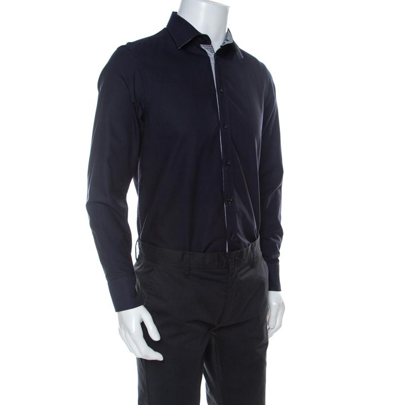 Emporio Armani Navy Blue Cotton Supreme Shirt