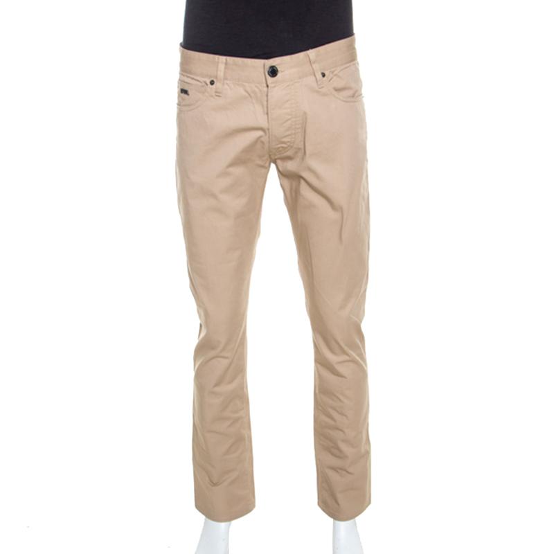 Emporio Armani Beige Cotton Regular Fit Pants M