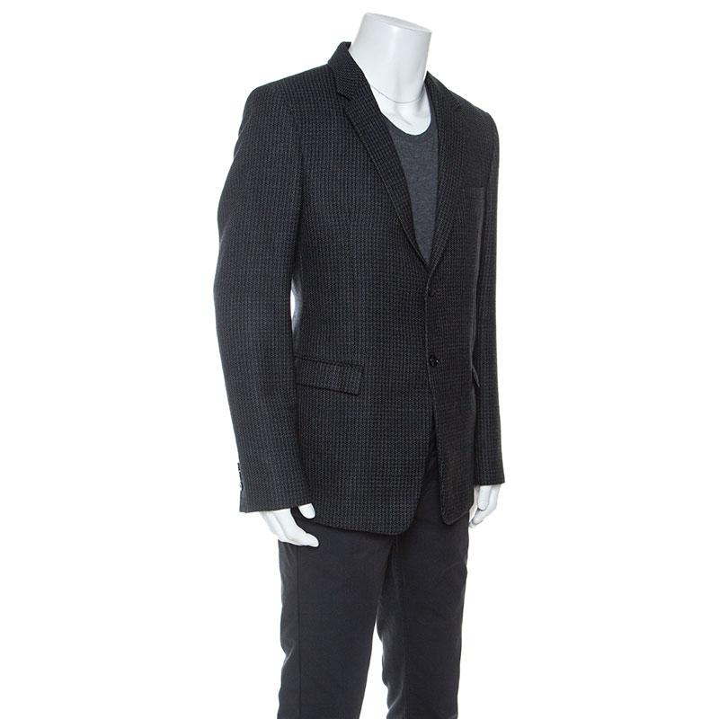 Emporio Armani Noir Tricot de Laine David Ligne Blazer 3XL