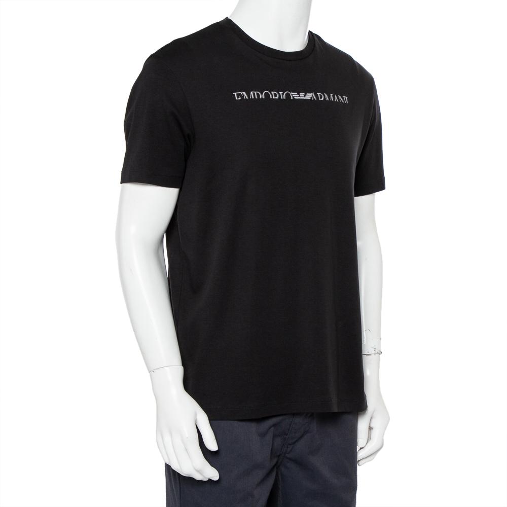 Emporio Armani Black Logo Embroidered Cotton Crewneck T-Shirt XXL  - buy with discount