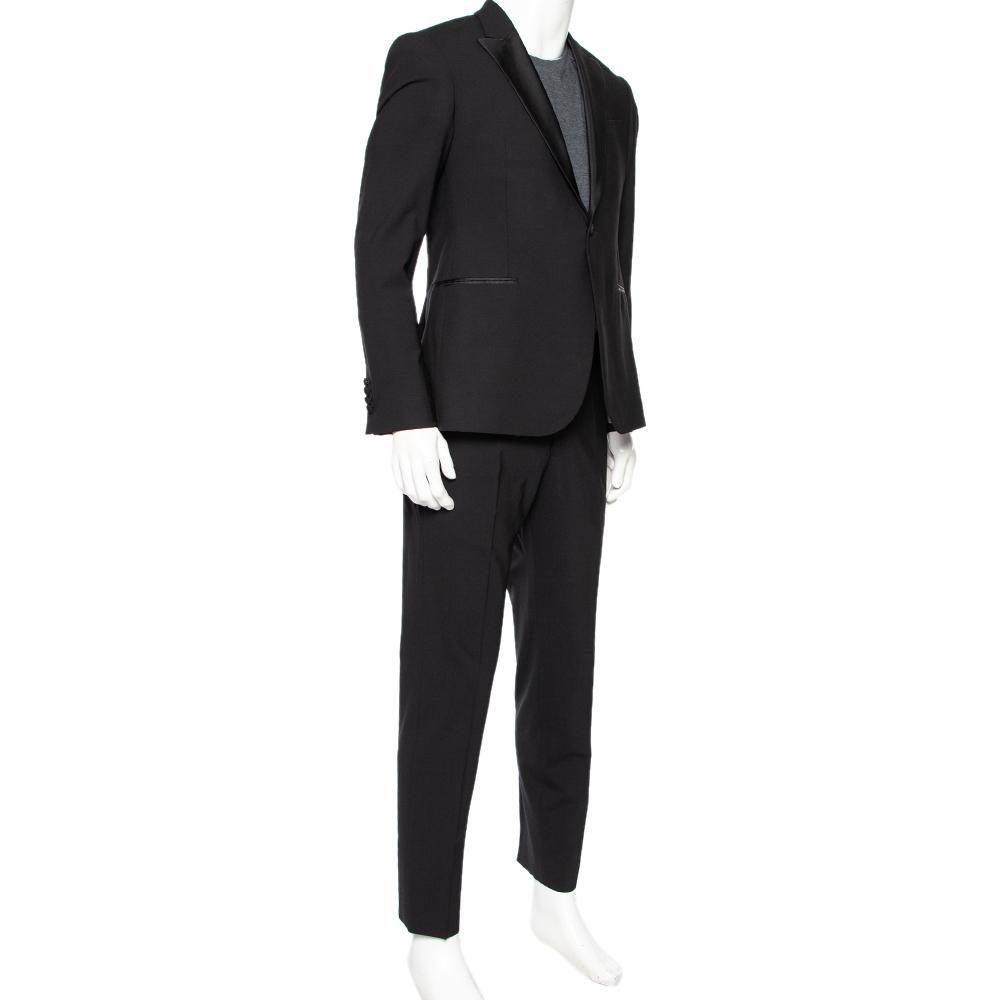 Emporio Armani Black Wool Silk Trimmed Single Breasted Tuxedo Suit L