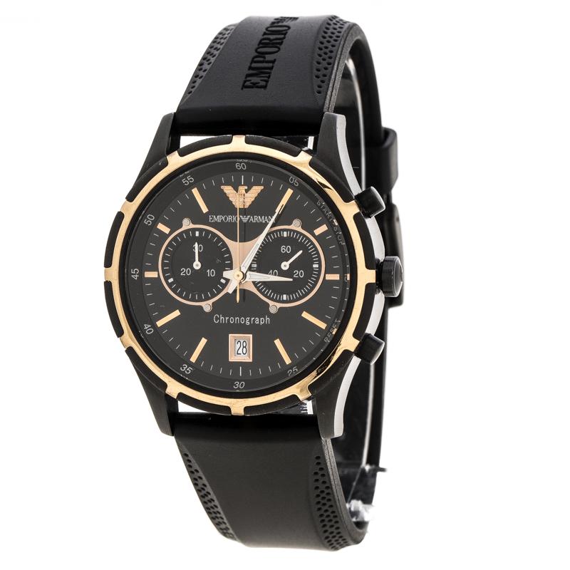 Super Qualität Vereinigte Staaten gute Textur Emporio Armani Black Stainless Steel Chronograph AR0584 Men's Wristwatch 42  mm