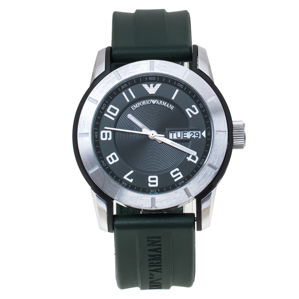 Pre-owned Emporio Armani Green Stainless Steel Rubber Ar5874 Men's Wristwatch 45 Mm