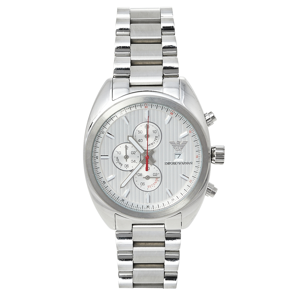 Pre-owned Emporio Armani Silver Stainless Steel Sportivo Ar5958 Chronograph Men's Wristwatch 42 Mm