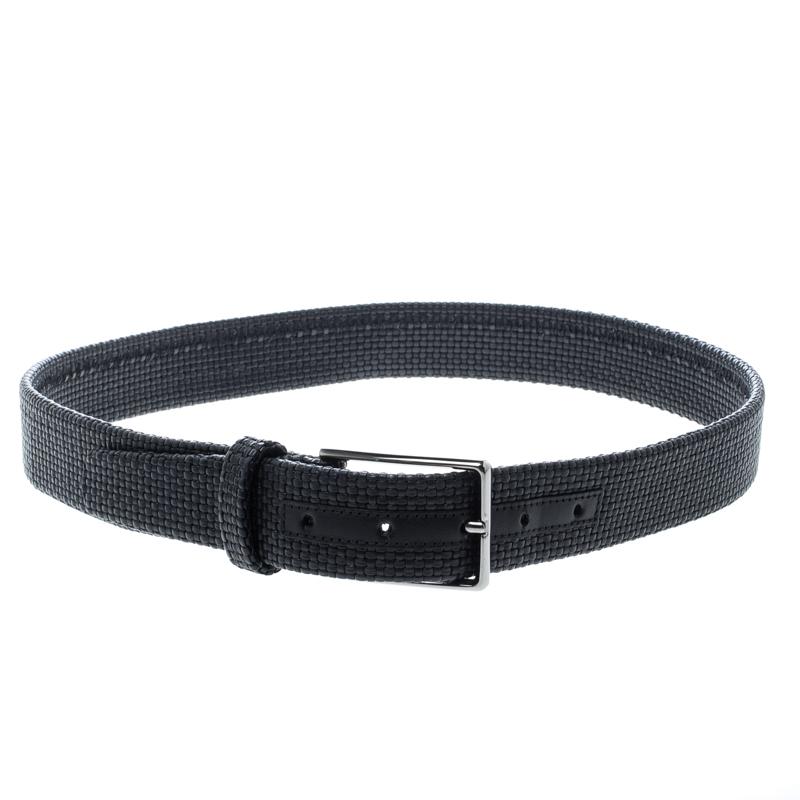 Ermenegildo Zegna Black Woven Leather Elastic Belt 90 CM