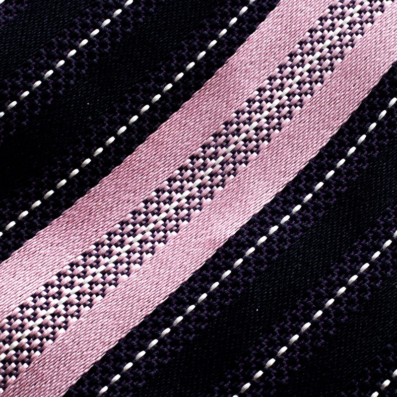 Ermenegildo Zegna Navy Blue and Pink Diagonal Striped Silk Jacquard Traditional Tie